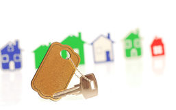Zilveren sleutel met lege markering Stock Fotografie