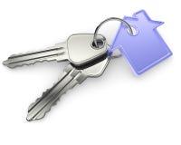 Zilveren sleutels met huiscijfer Stock Afbeeldingen