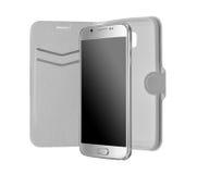 Zilveren smatphone en geval Royalty-vrije Stock Fotografie