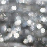 Zilveren sneeuwachtergrond Stock Afbeelding