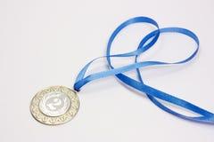 Zilveren sportmedaille Royalty-vrije Stock Afbeelding