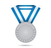 Zilveren sportmedaille Stock Foto's
