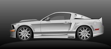 Zilveren sportwagen stock illustratie
