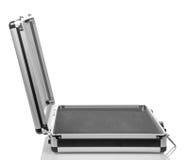 Zilveren staal lege koffer royalty-vrije stock afbeeldingen