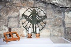 Zilveren ster Bethlehem. Jeruzalem stock afbeelding
