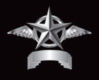 Zilveren ster en vleugels over sllvernaambord vector illustratie