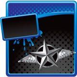 Zilveren ster met vleugels op halftone reclame vector illustratie