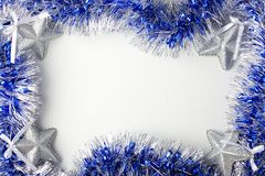 Zilveren sterren en blauw klatergoud Royalty-vrije Stock Foto