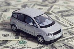 Zilveren stuk speelgoed auto Stock Afbeelding
