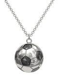 Zilveren tegenhanger in vorm van voetbalbal op ketting stock illustratie
