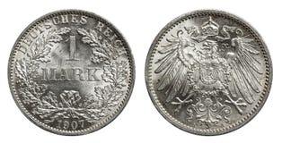 Zilveren tekenmuntstuk Duitsland 1907 stock afbeelding