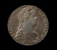 Zilveren thaler van Maria Theresa op zwarte Royalty-vrije Stock Foto's