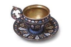 Zilveren theekop in een plique-stijl Royalty-vrije Stock Afbeeldingen
