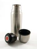 Zilveren thermosflessenfles Stock Foto's