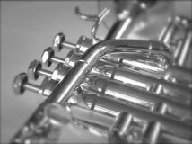 Zilveren Trompet Stock Afbeeldingen