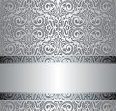 Zilveren uitstekend herhaald behangontwerp Stock Afbeelding