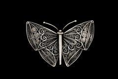 Zilveren uitstekende vlinder stock fotografie