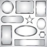 Zilveren vectoretiketinzameling Stock Foto