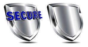 Zilveren Veilig Schild, Spam, antivirus bescherming Stock Afbeelding