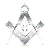 Zilveren vierkant en kompas stock illustratie