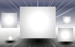 Zilveren Vierkante Comités die door Ruimte vliegen Stock Foto