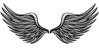 Zilveren vleugels stock illustratie