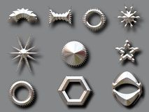 Zilveren vormen met schaduwen Stock Afbeeldingen