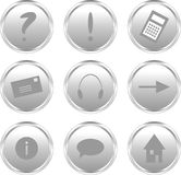 Zilveren websiteknopen Stock Afbeelding