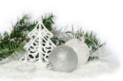 Zilveren/witte Kerstmisdecoratie Stock Fotografie