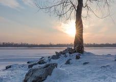 Zilveren zonsondergang over de bevroren rivier Ob royalty-vrije stock foto