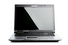 Zilveren zwarte geïsoleerdee laptop Royalty-vrije Stock Foto