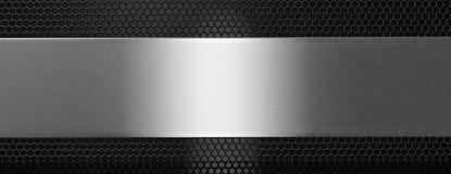 Zilveren zwarte metaalplaat en rooster, banner 3D Illustratie stock illustratie