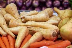 Zim białe marchewki i rzodkiew Fotografia Royalty Free