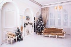 Zim bożych narodzeń i nowego roku dekoracja w klasycznej sala Obraz Stock