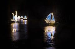 Zim bożych narodzeń iluminacja przy nocą w Oliwa parku w Gdańskim Obrazy Stock