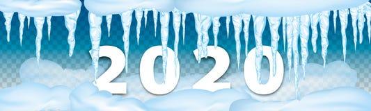 2020 zim dekoracji Ustawiaj?cych ?nie?ni sople, ?nie?na nakr?tka odizolowywaj?ca ?nie?ni elementy na zimy tle 2020 bo?ych narodze obrazy royalty free