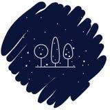 Zim drzew ikony wektorowa ilustracja na błękitnym tle fotografia royalty free