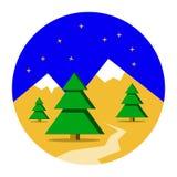 Zim gór krajobraz z sosnowym lasowym Bożenarodzeniowym tłem Płaski projekt, wektorowa ilustracja ilustracji