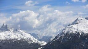 Zim góry, panorama - nakrywający szczyty Włoscy Alps Dolomity, Alps, Włochy, Trentino alt Adige Nakrywająca góra obrazy royalty free