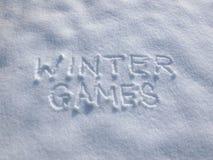 Zim gry - Śnieżny Writing obraz royalty free