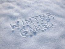 Zim gry - Writing W śniegu obraz royalty free