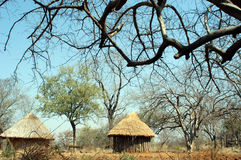 Zim Huts 01. Two huts photographed in Zimbabwe. This is the traditional way of building huts Royalty Free Stock Photos