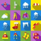 Zim ikony ustawiać, kreskówka styl ilustracji