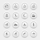 Zim ikony Ustawiać - Narciarski sport royalty ilustracja