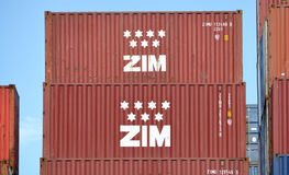 Zim Integrated Shipping Container royalty-vrije stock foto