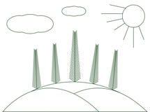 Zim krajobrazowe choinki na wzgórzach Graficzna ilustracja Obraz Stock