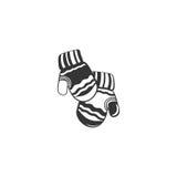 Zim mitynki Wektorowa ręka rysująca mitynka z doodle abstrakcjonistycznym ornamentem odosobniony ilustracja wektor