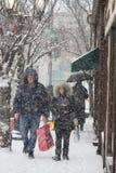 2017 zim śniegu zimy streetsczpe Zdjęcie Stock