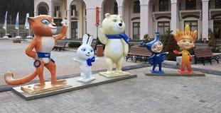 Zim olimpiad maskotki w Gorky Gorod kurorcie Fotografia Stock