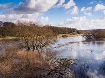 Zim powodzie blisko Melbourne Derbyshire fotografia royalty free